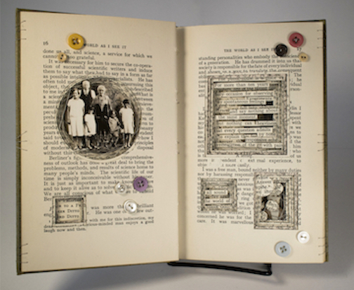 """The World as I See It, 2019, bound book, found objects, 7 1/2 x 9 1/2 x 1 1/2"""""""