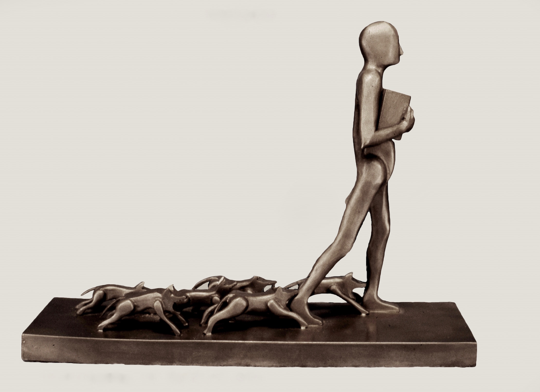 Man with Dogs Barking, 1987, bronze, 9 x 3 7/8 x 12""