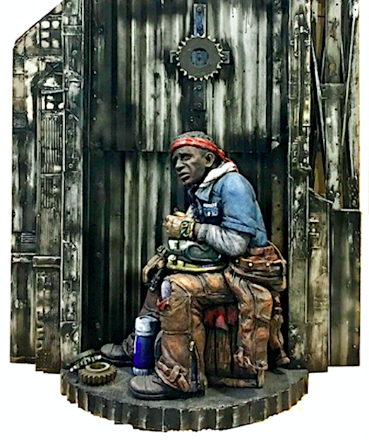 """Kelly and Kyle Phelps, """"Steelworker"""", 2018, ceramic/mixed media, 48 x 24 x 12"""""""