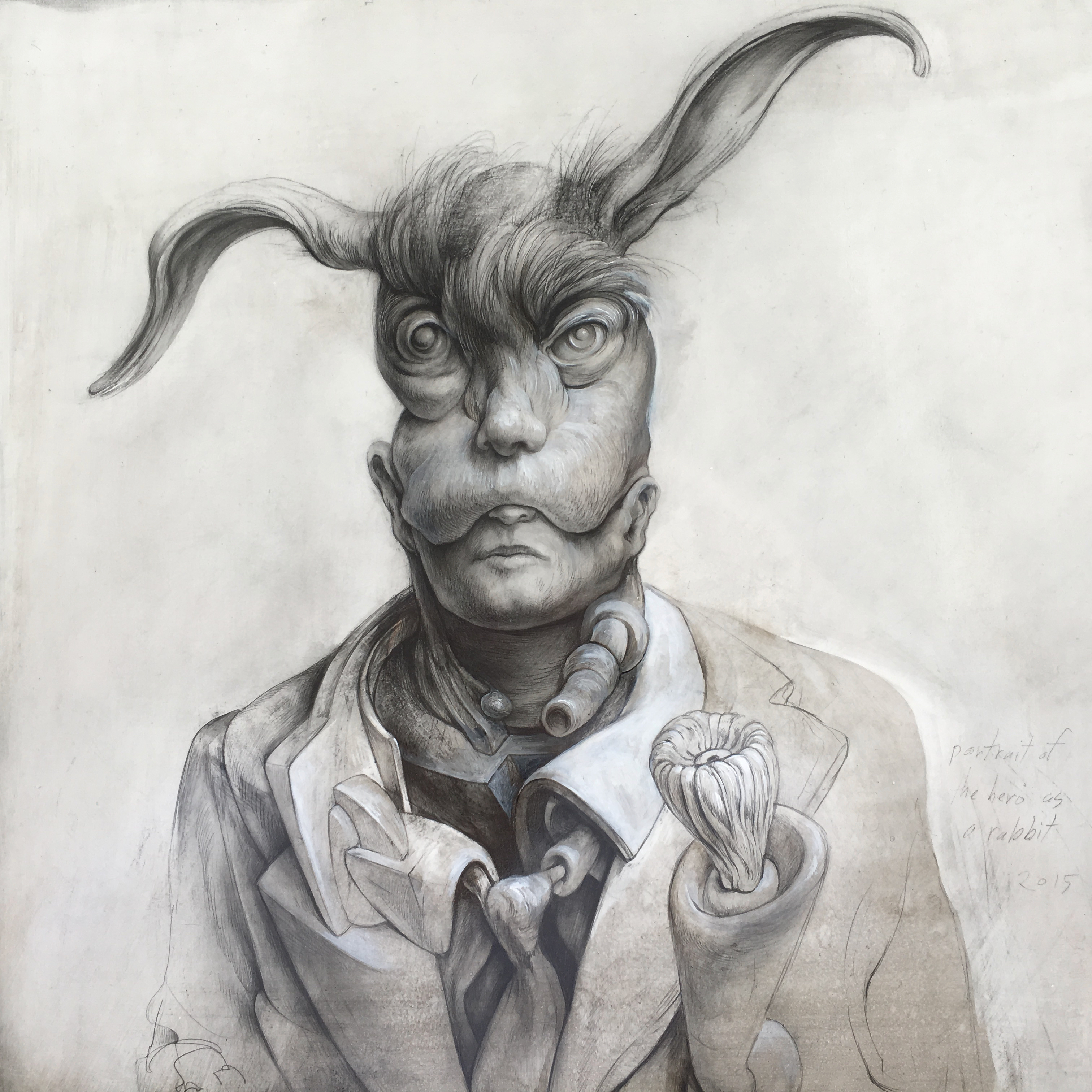 "Portrait of the Hero as a Rabbit, 2015, 12 x 12 x 3 1/4"", graphite, acrylic on panel"