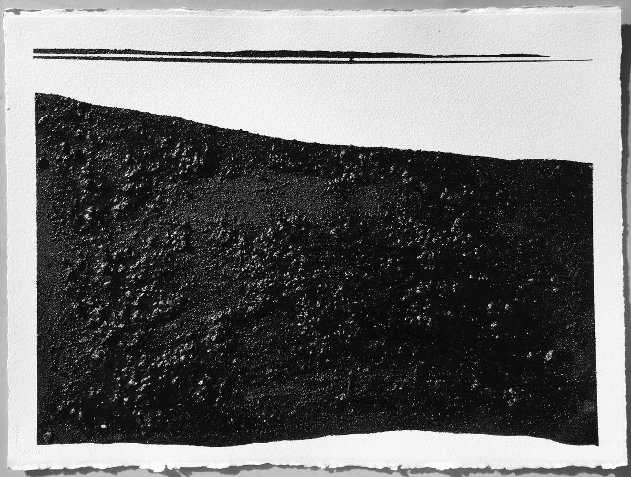Mirror or Mirage XX, 2016, asphalt, sand, tar on paper, 22 x 30""