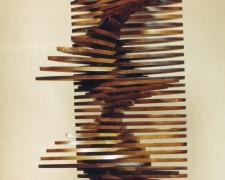 Wind and Wave, 1997, stained pine, 32 3/4 x 12 1/2 x 10""