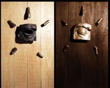 """Sol de Dia, Sol de Noche, 2005, bronze on wood, 25 x 28"""""""