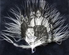 "1st Birthday 2011 intaglio on feather frame: 8 1/4 x 6 1/4 / i.s. 4 x 4 1/2"""