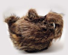 """Pour Meret, 2013, Pour Meret ceramic teapot, raccoon fur, 7 x 9 x 6"""""""