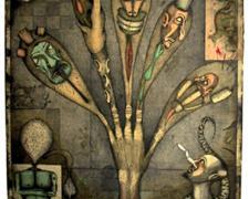 """My Rotten Hand 2001 intaglio/graphite/colored pencil/collage 23 3/4 x 17 5/8"""""""