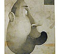 "Portrait of a Young Artist (Son), 2003, mixed media on paper, p.s. 33 x 13 1/2"" / f.s. 41 x 21"""