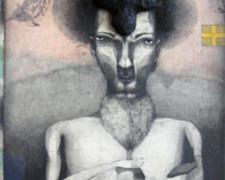 """Behind the Trees, 2007, graphite, colored pencil, papier-mâché, p.s. 37 x 17 1/2"""""""