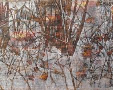 Fire and Ice, 2015, oil, chalk, over collaged print matter/distressed canvas, 48 x 96""