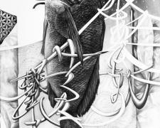 """形あるものいつか壊れる  Black Drum, 2018, graphite on paper, 19 1/2 x 12 1/4"""""""