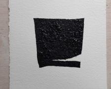 "Marcos Hernandez, Mirror or Mirage, 1, 2019, asphalt, sand, tar on paper, 8 x 8"""