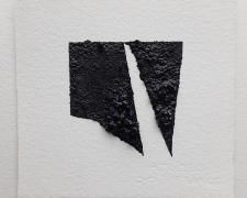 "Mirror or Mirage, 10, 2019, asphalt, sand, tar on paper, 8 x 8"""