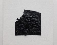 "Mirror or Mirage, 11, 2019, asphalt, sand, tar on paper, 8 x 8"""
