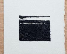 "Mirror or Mirage, 12, 2019, asphalt, sand, tar on paper, 8 x 8"""