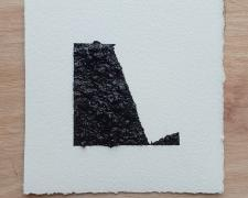 "Mirror or Mirage, 13, 2019, asphalt, sand, tar on paper, 8 x 8"""