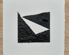 "Mirror or Mirage, 14, 2019, asphalt, sand, tar on paper, 8 x 8"""