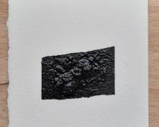 "Mirror or Mirage, 15, 2019, asphalt, sand, tar on paper, 8 x 8"""