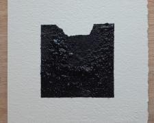 "Mirror or Mirage, 16, 2019, asphalt, sand, tar on paper, 8 x 8"""