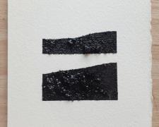 "Mirror or Mirage, 17, 2019, asphalt, sand, tar on paper, 8 x 8"""