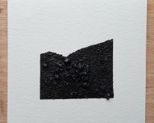 "Mirror or Mirage, 18, 2019, asphalt, sand, tar on paper, 8 x 8"""