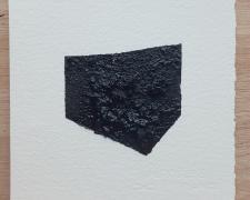 "Mirror or Mirage, 19, 2019, asphalt, sand, tar on paper, 8 x 8"""