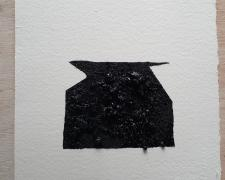 "Mirror or Mirage, 2, asphalt, sand, tar on paper, 8 x 8"""