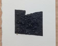 "Mirror or Mirage, 20, 2019, asphalt, sand, tar on paper, 8 x 8"""