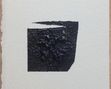 "Mirror or Mirage, 21, 2019, asphalt, sand, tar on paper, 8 x 8"""