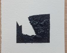 "Mirror or Mirage, 23, 2019, asphalt, sand, tar on paper, 8 x 8"""