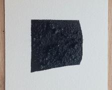 "Mirror or Mirage, 24, 2019, asphalt, sand, tar on paper, 8 x 8"""