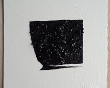 "Mirror or Mirage, 3, 2019, asphalt, sand, tar on paper, 8 x 8"""