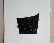 "Mirror or Mirage, 4, 2019, asphalt, sand, tar on paper, 8 x 8"""