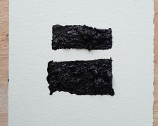"Mirror or Mirage, 5, 2019, asphalt, sand, tar on paper, 8 x 8"""