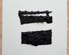 "Mirror or Mirage, 6, 2019, asphalt, sand, tar on paper, 8 x 8"""