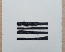 "Mirror or Mirage, 7, 2019, asphalt, sand, tar on paper, 8 x 8"""