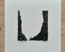 "Mirror or Mirage, 26, 2020, asphalt, sand, tar on paper, 8 x 8"""