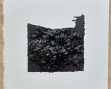 "Mirror or Mirage, 27, 2020, asphalt, sand, tar on paper, 8 x 8"""