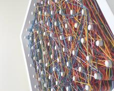 """hacia el arco, por debajo del diluvio, 2020, various colored embroidery cotton strings on handbuilt wood frame with pegs, 12 x 12"""""""