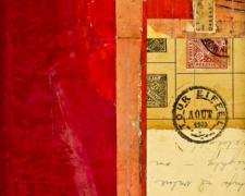 "document #2, 2012, mixed media collage, f.s. 15 1/4 x 12 1/4"" / i.s. 7 1/4 x 5 1/8"""