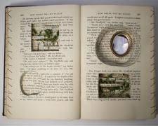 How Green Was My Valley, 2019, bound book, found objects, 8 1/4 x 12 x 1 3/4""