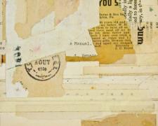 "Scott Gordon, ""document #11"", 2013, mixed media collage, f.s. 15 1/4 x 12 1/4"" / i.s. 7 x 5"""