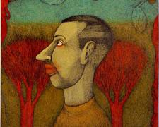 Man in the Red Trees, 2008, color pencil, graphite, collage, ink, i.s. 18 x 14 1/2""