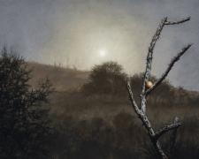 Moonrise, Fog and Egg, 2015, oil on canvas, 20 x 36""