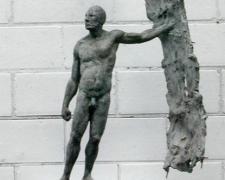 "Hombre Plano IV (winged warrior), 1998, bronze, 37 x 17 3/4 x 9 3/4"""