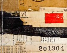 "document #18, 2012, mixed media collage, f.s. 15 1/4 x 12 1/4"" / i.s. 7 x 5"""