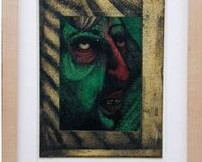 """Portrait Of The Green Artist 1999 ball point pen/ink/collage 6 1/4 x 4 7/8"""""""
