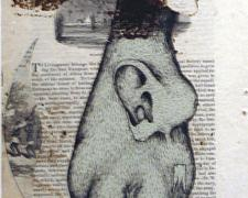 """Short Story for Matt, 2008, silk screen, gesso, ink, collage on magazine page mounted on paper, i.s. 9 3/4 x 6 1/4"""""""