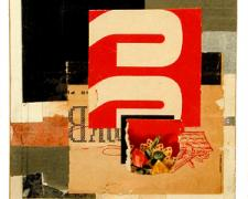 number 8, 2004, acrylic, found paper collage on museum board, 6 1/4 x 4 3/4""