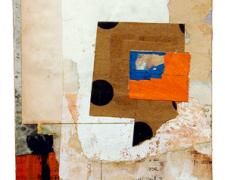 number 21 2004 Acrylic, found paper collage on museum board 6 1/4 x 4 1/2""