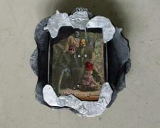 Vladyslav Krasnoshchok and Olga Starostina, Divers, 2011-2014, mixed media collage, 7 1/2 x 7 x 2 1/4""